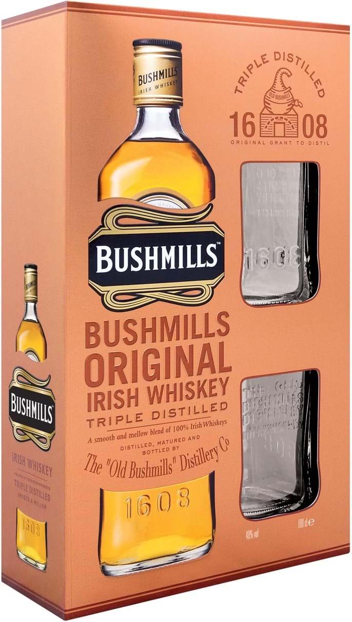 Bushmills Original Blended Irish Whiskey & 2 Bushmills‑mærkede whiskyglas 40% 1L