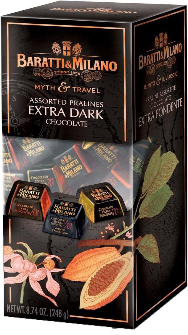 Baratti & Milano – Il Mito e il Viaggio – blandede parliner af mørk chokolade, 249g