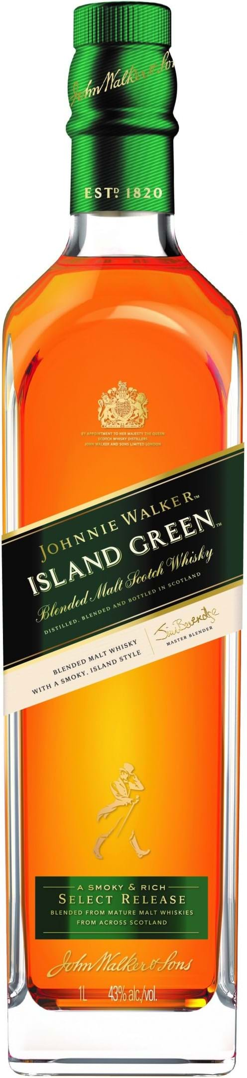Johnnie Walker Island Green 43 % 1L, gaveæske