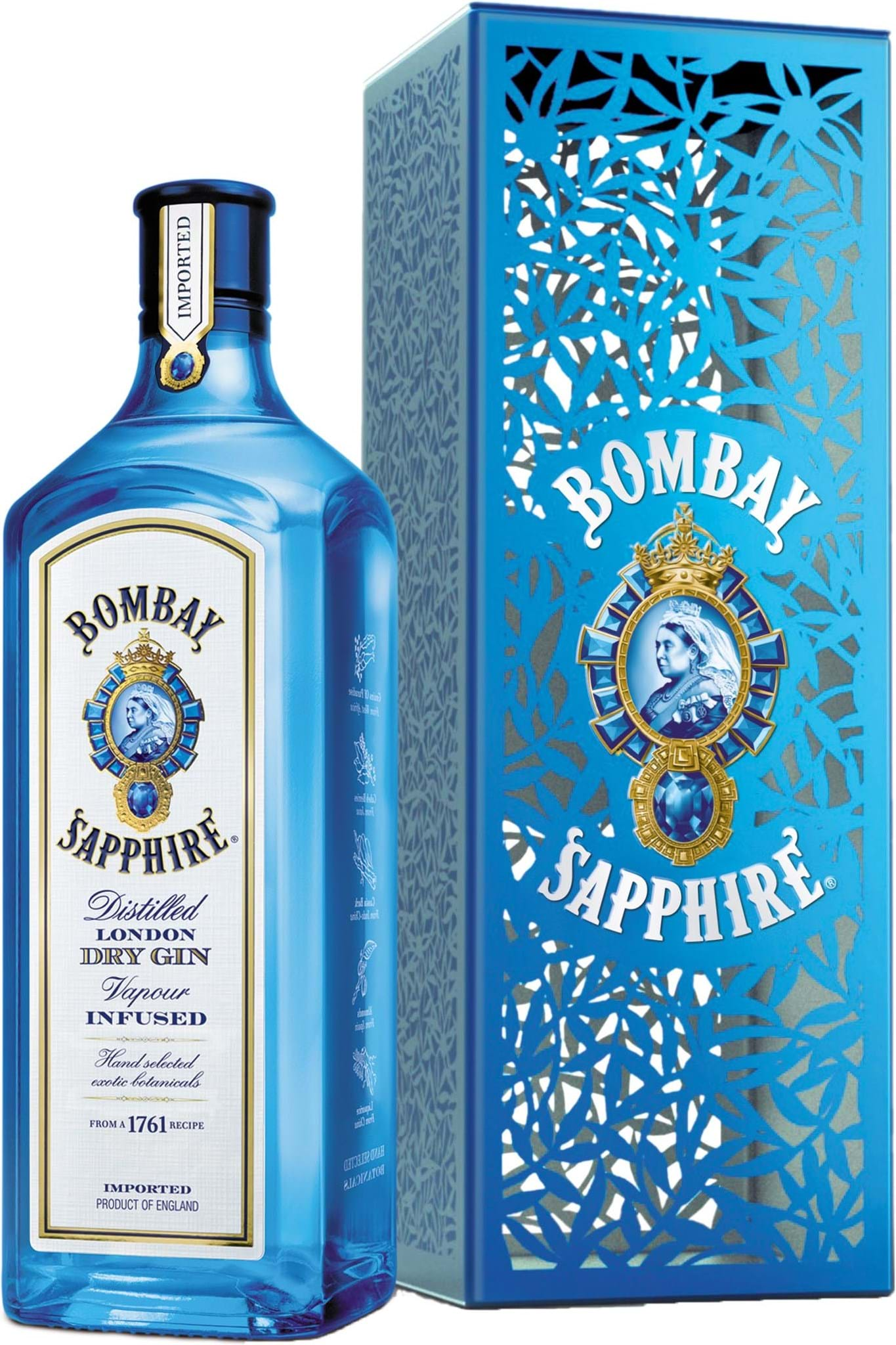 Bombay Sapphire 47% 1L, gaveæske