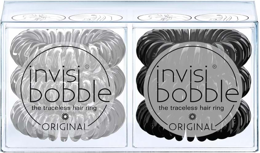 Invisibobble Original dobbeltpakning Crystal Clear & True Black