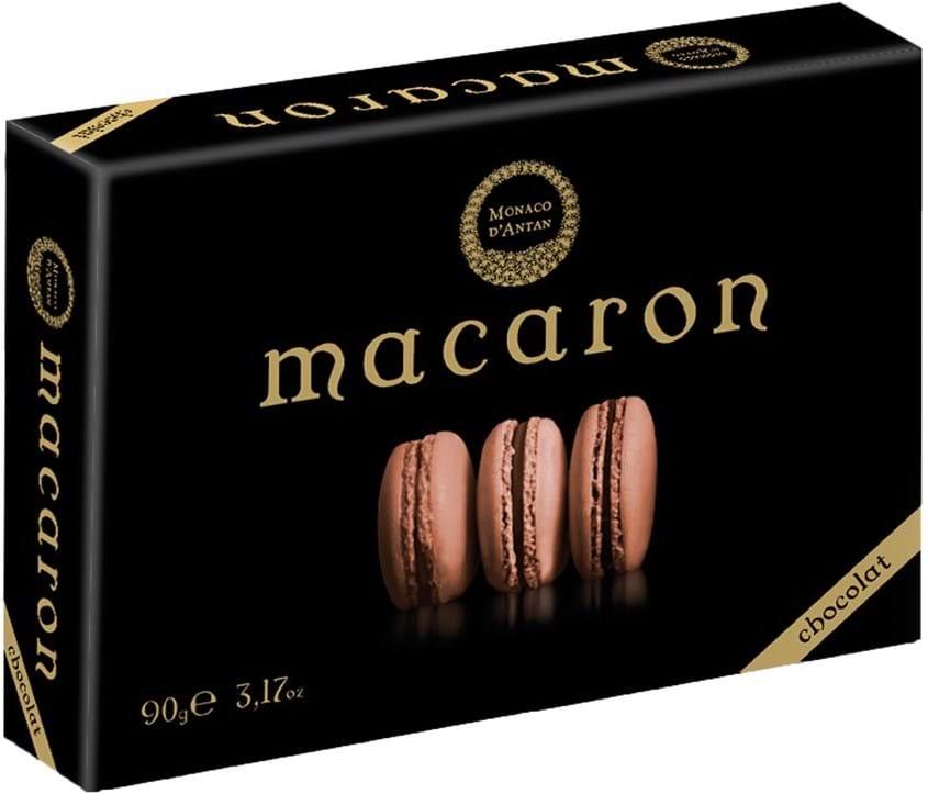 Macaron-chokolade Monaco D'Antan 90g, marengs med chokoladecreme; en æske indeholder seks stykker på hver 15g