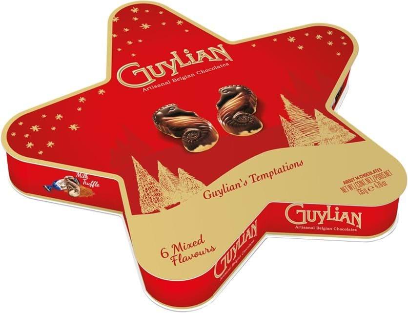 Guylian Temptations-julestjerne, gaveæske 135g