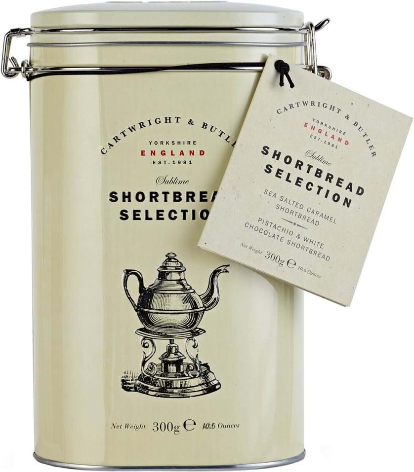 Cartwright & Butler – saltet karamel-shortbread 150g og shortbread med pistacienødder og hvid chokolade 150g