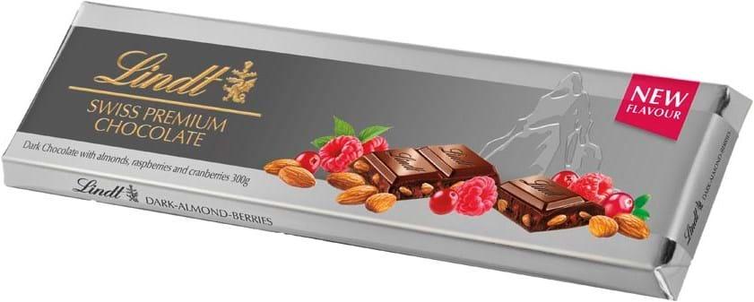 Lindt-sølvplade mørk bær/mandel 300g
