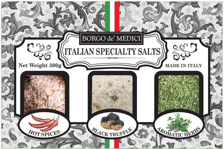 Borgo de' Medici – udvalg af italiensk salt (chili, trøffel, toscanske urter) – 3x100g