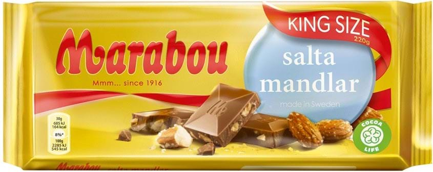 Marabou Salta Mandlar chocolate bar 220g