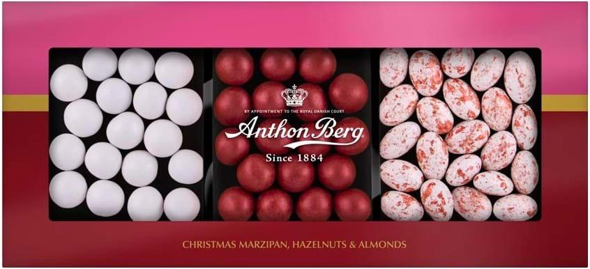Anthon Berg – julegaveæske med marcipan, hasselnødder og mandler 175g
