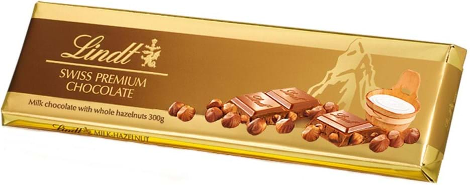 Lindt Tablet Gold milk chocolate with roasted hazelnuts 300g