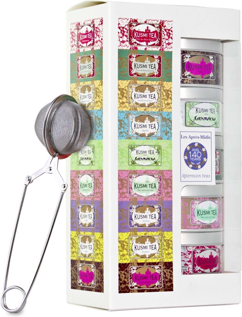 KUSMI Afternoon Teas gift pack with infuser – 5x25g tins
